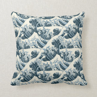 Almofada Travesseiro decorativo - a onda de Hokusai