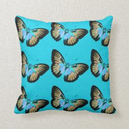 Almofada Travesseiro decorativo azul com borboletas do