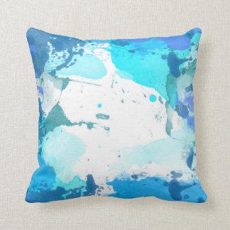 Almofada Travesseiro decorativo azul da aguarela