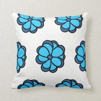 Almofada Travesseiro decorativo azul da flor