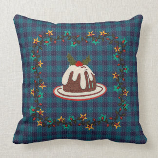 Almofada Travesseiro decorativo azul da xadrez do pudim do