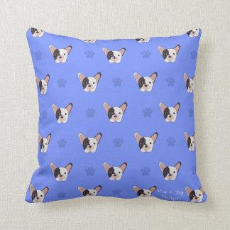 Almofada Travesseiro decorativo azul do buldogue francês da