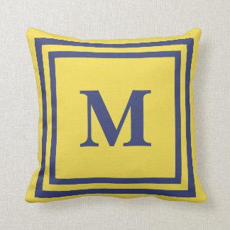 Almofada Travesseiro decorativo azul e amarelo Monogrammed
