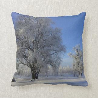 Almofada Travesseiro decorativo branco azul da árvore da