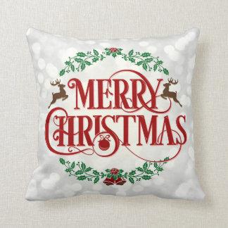 Almofada Travesseiro decorativo branco de Bokeh do Feliz