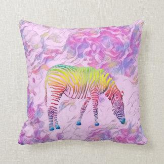 Almofada travesseiro decorativo colorido da zebra