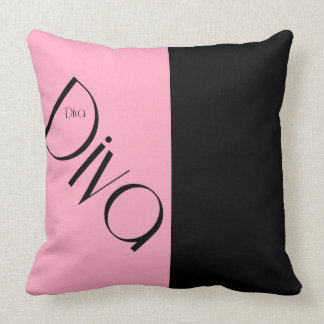 Almofada Travesseiro decorativo cor-de-rosa & preto da diva