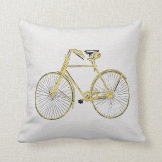 Almofada Travesseiro decorativo da bicicleta do amarelo do