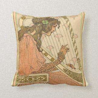 Almofada Travesseiro decorativo da harpa de Nouveau da arte