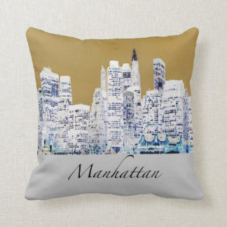Almofada Travesseiro decorativo da skyline de Manhattan