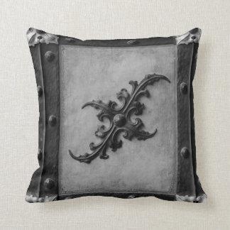 Almofada Travesseiro decorativo de prata preto e cinzento
