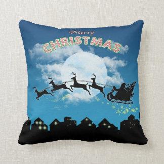 Almofada Travesseiro decorativo do azul do papai noel do