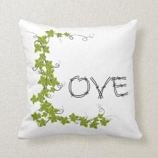 Almofada Travesseiro decorativo do branco do verde da hera