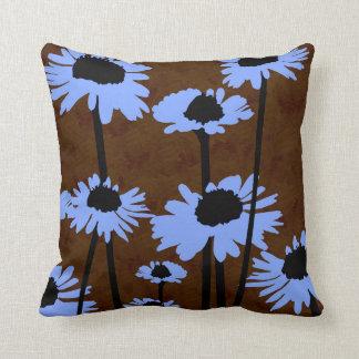 Almofada Travesseiro decorativo do couro azul das flores
