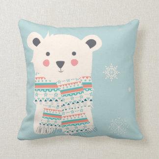 Almofada Travesseiro decorativo do Natal do urso polar do