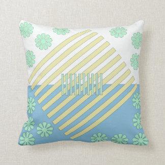 Almofada Travesseiro decorativo do tom dois branco, azul,