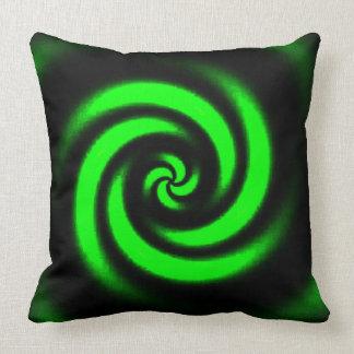 Almofada Travesseiro decorativo espiral preto e verde do