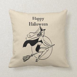 Almofada Travesseiro decorativo feliz da bruxa do vintage