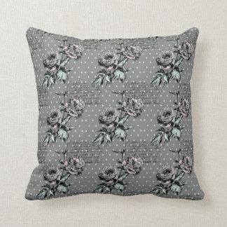 Almofada Travesseiro decorativo floral cinzento do roteiro