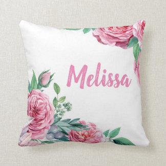 Almofada Travesseiro decorativo floral da aguarela do rosa
