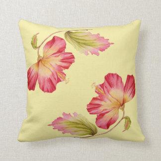 Almofada Travesseiro decorativo floral do hibiscus do rosa