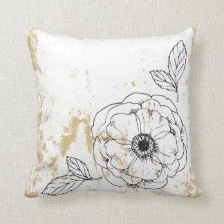 Almofada Travesseiro decorativo floral do ouro do quadro