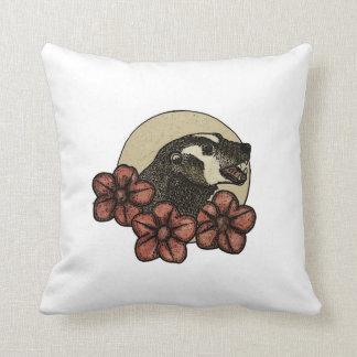 Almofada Travesseiro decorativo floral feliz do texugo