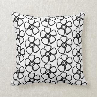 Almofada Travesseiro decorativo floral preto e branco