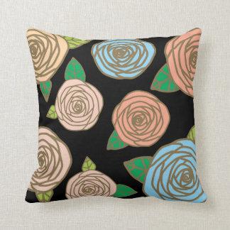 Almofada Travesseiro decorativo floral, rosas em preto e