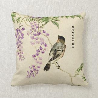 Almofada Travesseiro decorativo japonês do pardal do Lilac