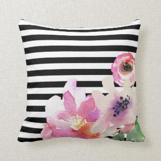 Almofada Travesseiro decorativo listrado da aguarela floral