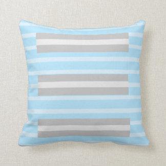 Almofada Travesseiro decorativo listrado das cinzas azuis