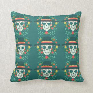 Almofada Travesseiro decorativo mexicano do crânio do