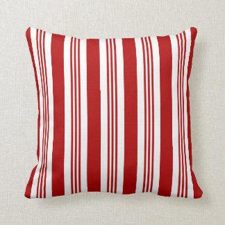 Almofada Travesseiro decorativo náutico listrado vermelho e