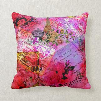 Almofada Travesseiro decorativo postal do carte francês