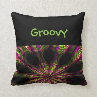Almofada Travesseiro decorativo preto psicadélico Groovy do