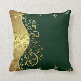 Almofada Travesseiro decorativo--Redemoinhos verdes escuro