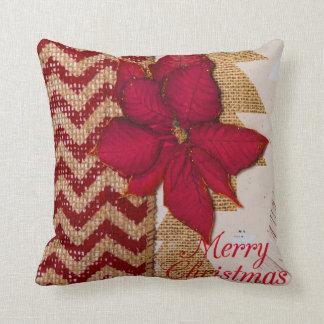 Almofada Travesseiro decorativo vermelho da poinsétia