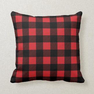 Almofada Travesseiro decorativo vermelho da xadrez da