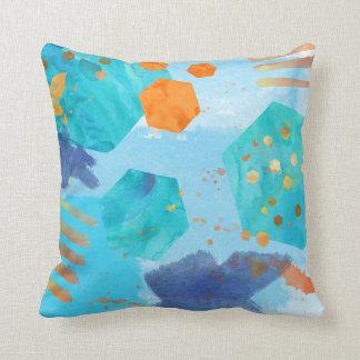 Almofada Travesseiro do abstrato do Watercolour azul,