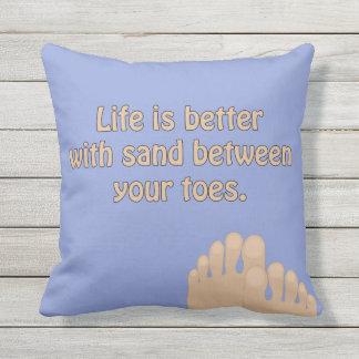 Almofada Travesseiro do azul de oceano dos dedos do pé da