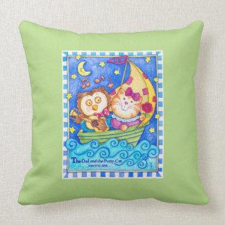 Almofada Travesseiro do berçário da coruja & do gatinho
