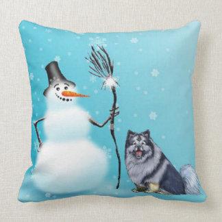 Almofada Travesseiro do boneco de neve e do keeshond