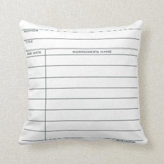 Almofada Travesseiro do cartão de biblioteca