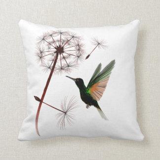 Almofada Travesseiro do dente-de-leão e do colibri