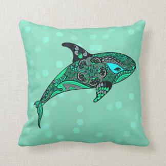 Almofada travesseiro do design da arte da baleia do aqua