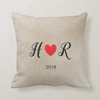 Almofada Travesseiro do Intials do casal do amor dos