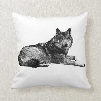 Almofada travesseiro do lobo cinzento do vintage
