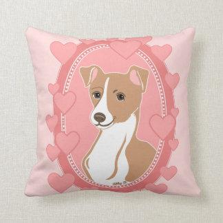 Almofada Travesseiro dos corações do rosa do galgo italiano