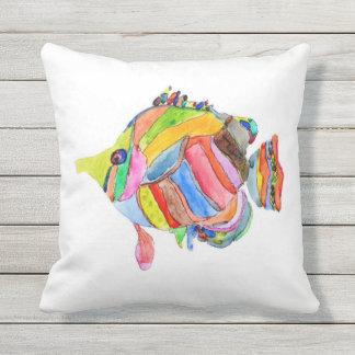 Almofada Travesseiro dos peixes da aguarela
